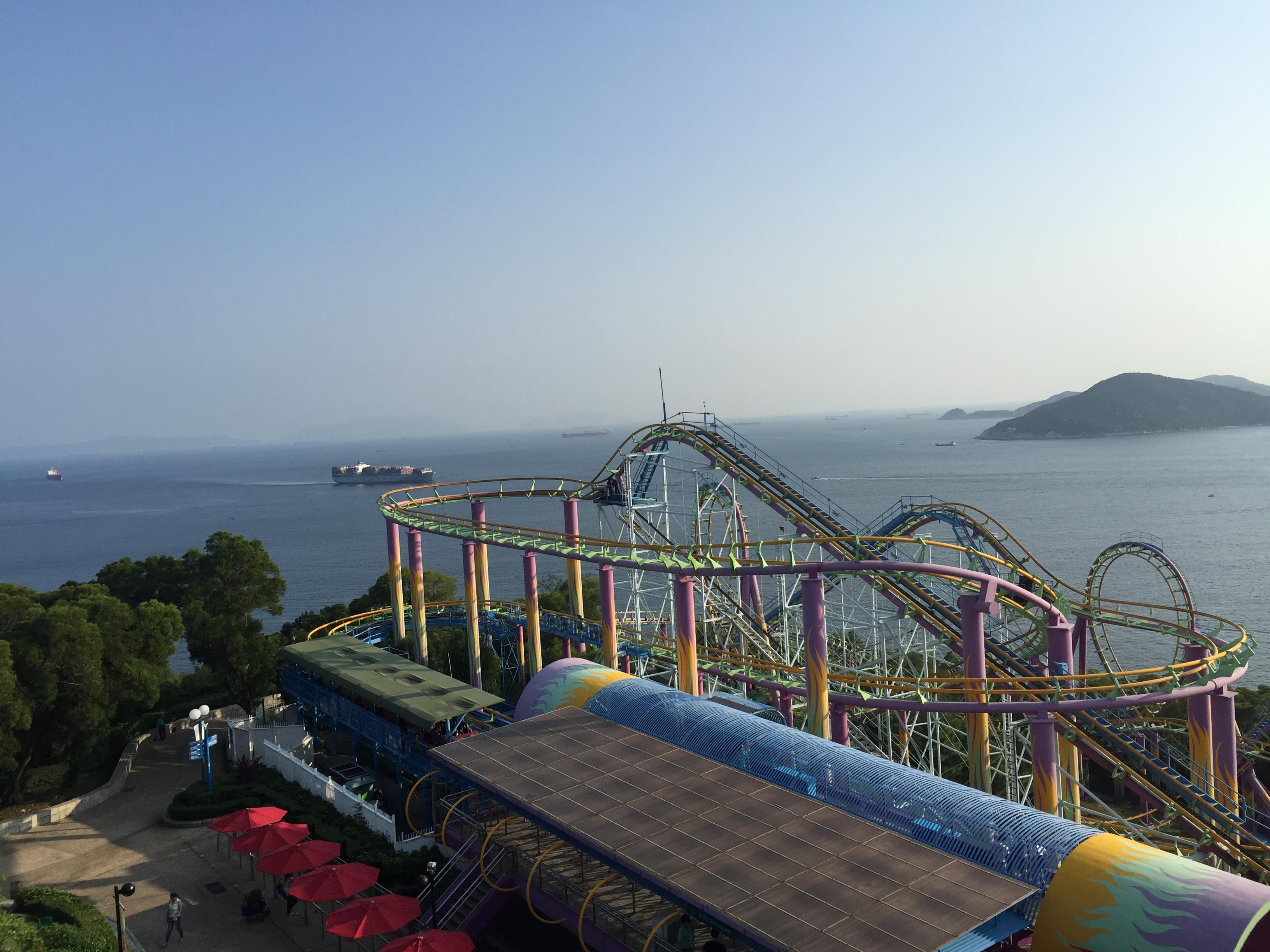 Atracción en Ocean Park con vistas al Mar de China