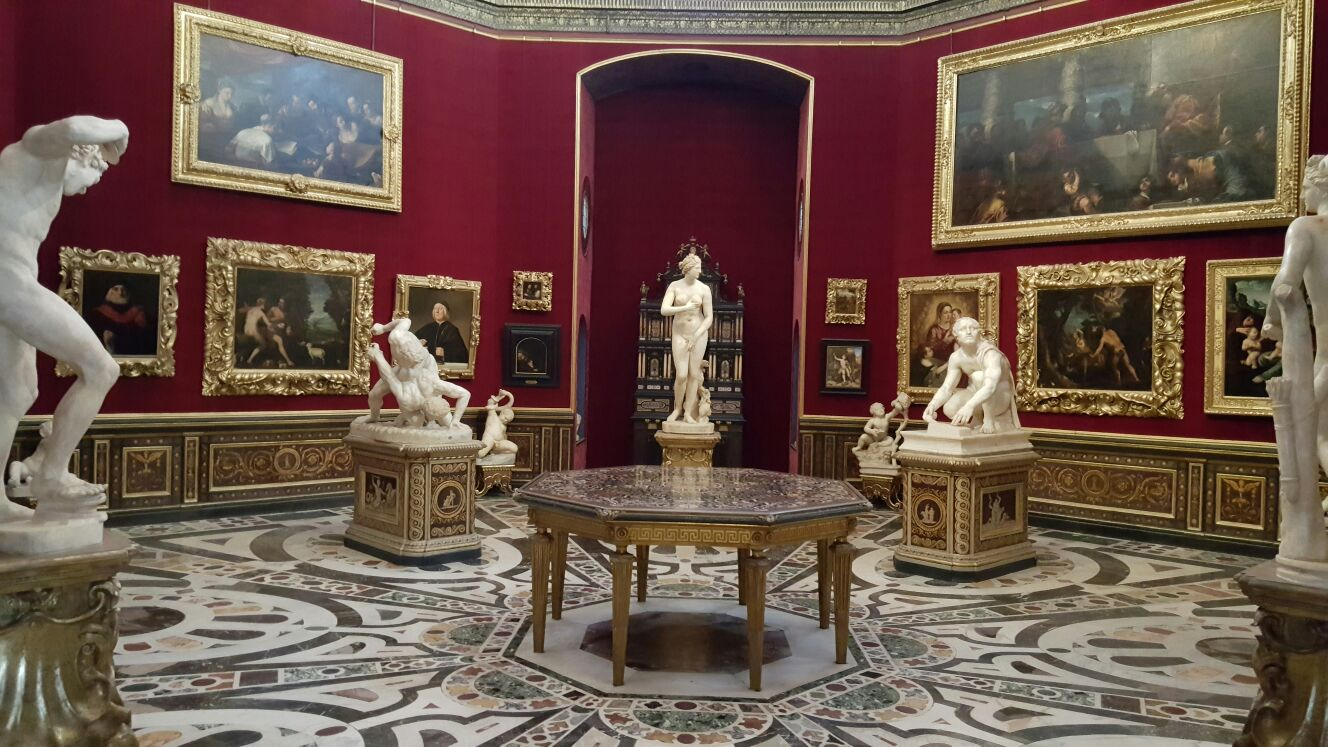 Inside the Uffizi Gallery in Florence